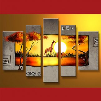 5 Panels Landscape Giraffe 5 Panel Framed Canvas Art Multi Piece Framed Canvas Art