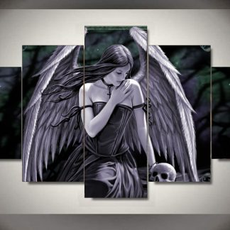 5 Panels Angel Statue Multi Piece Framed Canvas Art Poster Print