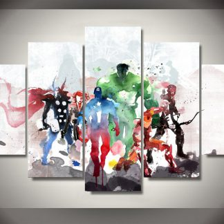 5 Panels The Avengers Multi Piece Framed Canvas Art Poster Print