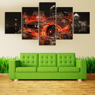 5 Panels Burning Car Multi Piece Framed Canvas Art Poster Print