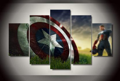 5 Panels Captain America Multi Piece Framed Canvas Art Poster Print