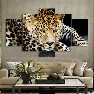 5 Panels Cheetah Multi Piece Framed Canvas Art Poster Print