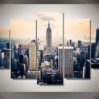 5 Panels City Skyline Multi Piece Framed Canvas Art Poster Print