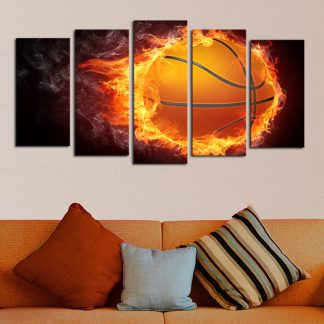 5 Panels Flaming Basketball Multi Piece Framed Canvas Art