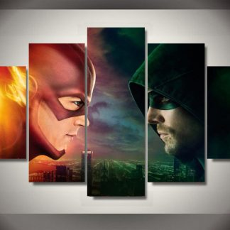 5 Panels The Flash vs Green Arrow Multi Piece Framed Canvas Art Poster Print