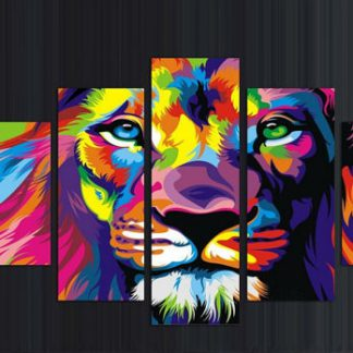 5 Panels Multi Colored King Multi Piece Framed Canvas Art Poster Print