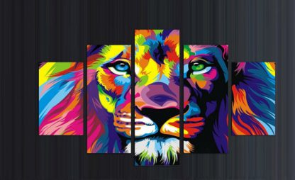 5 Panels Lion Multi Piece Framed Canvas Art