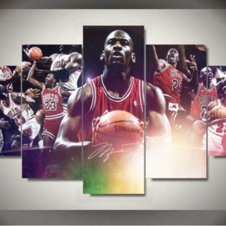 5 Panels Michael Jordan Multi Piece Framed Canvas Art Poster Print