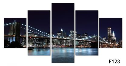 5 Panels New York Multi Piece Framed Canvas Art Poster Print