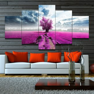 5 Panels Pink Treen on Field Multi Piece Framed Canvas Art