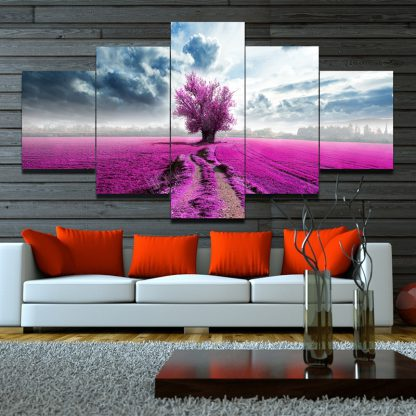 5 Panels Pink Field Multi Piece Framed Canvas Art Poster Print