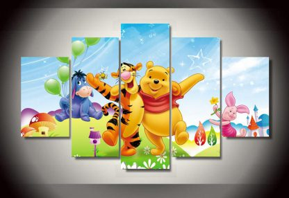 5 Panels Winnie The Pooh Multi Piece Framed Canvas Art Poster Print