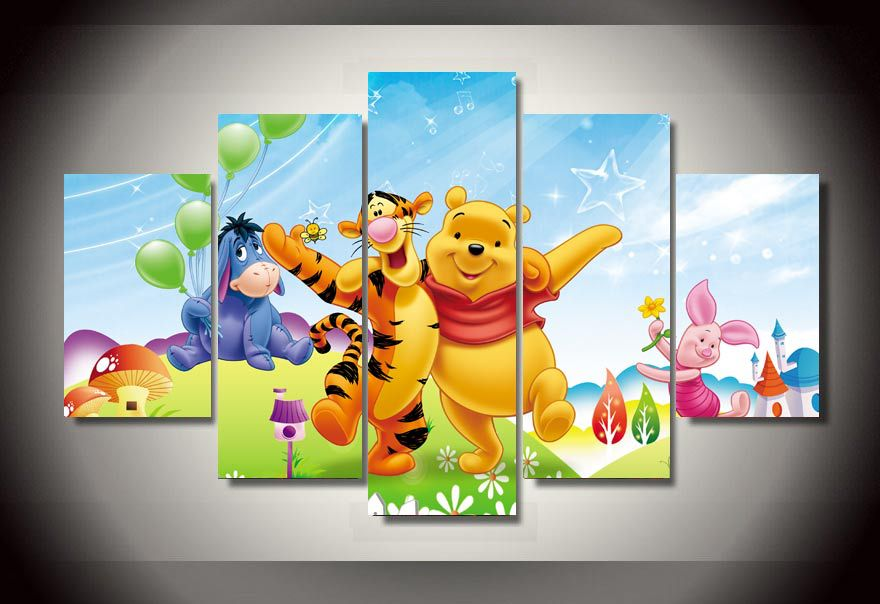 Cheap Cars For Sale >> 5 Panels 5 Panels Winnie the Pooh Group Artwork Framed Poster Print Canvas Art Multi Piece