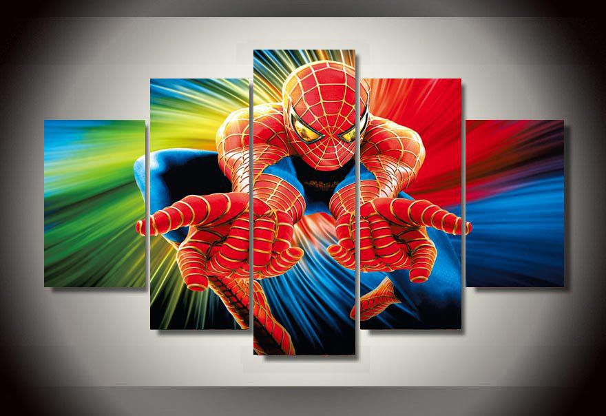 5 Panels Spiderman Marvel Group Artwork Multi Canvas Art
