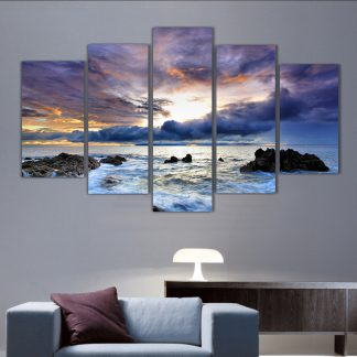 5 Panels Serene Sunset Multi Piece Framed Canvas Art Poster Print