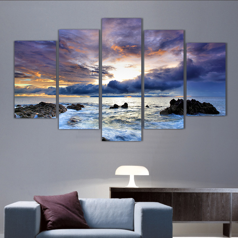 5 panels sunset over ocean group artwork multi canvas art for Wall art pictures paintings