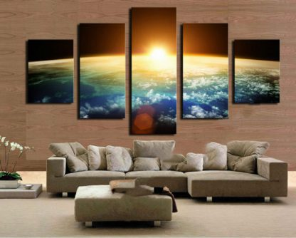 5 Panels Orbiting Earth Multi Piece Framed Canvas Art Poster Print