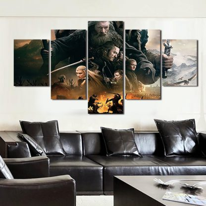 5 Panels The Hobbit Multi Piece Framed Canvas Art Poster Print