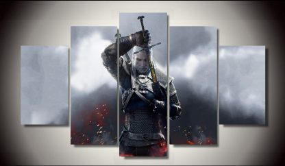 5 Panels The Witcher 3 Multi Piece Framed Canvas Art Poster Print