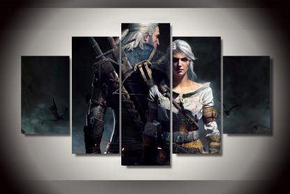 5 Panels The Witcher 3 Geralt Multi Piece Framed Canvas Art Poster Print