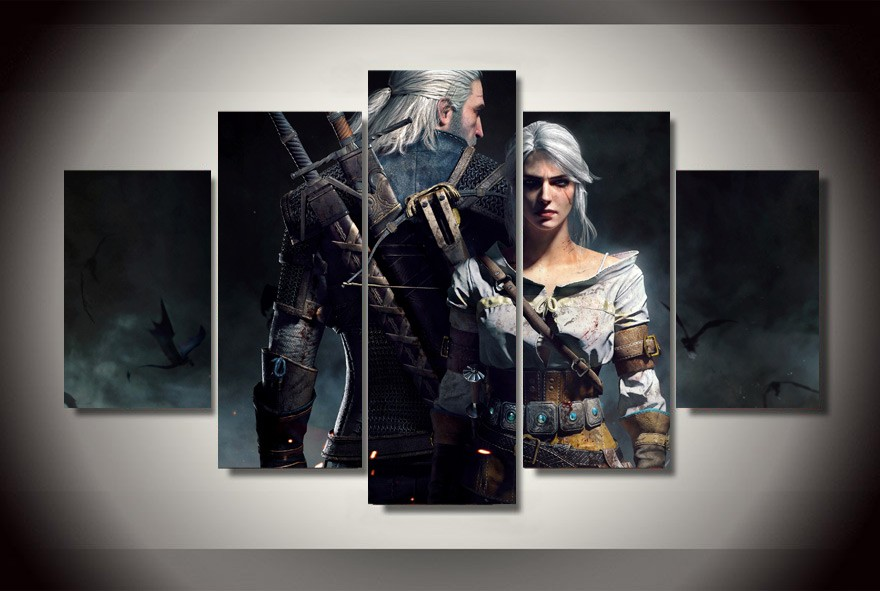5 Panels Witcher 3 Geralt Group Artwork Multi Canvas Art