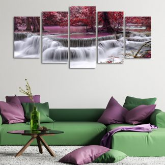 5 Panels Red Lake Waterfall Multi Piece Framed Canvas Art Poster Print