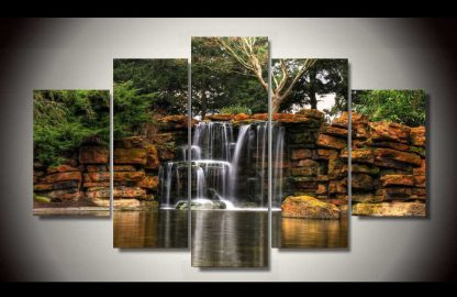 5 Panels Waterfall Multi Piece Framed Canvas Art Poster Print