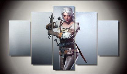 5 Panels The Witcher Ciri Multi Piece Framed Canvas Art Poster Print