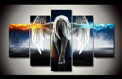 5 Panels Angel Girl Multi Piece Framed Canvas Art Poster Print