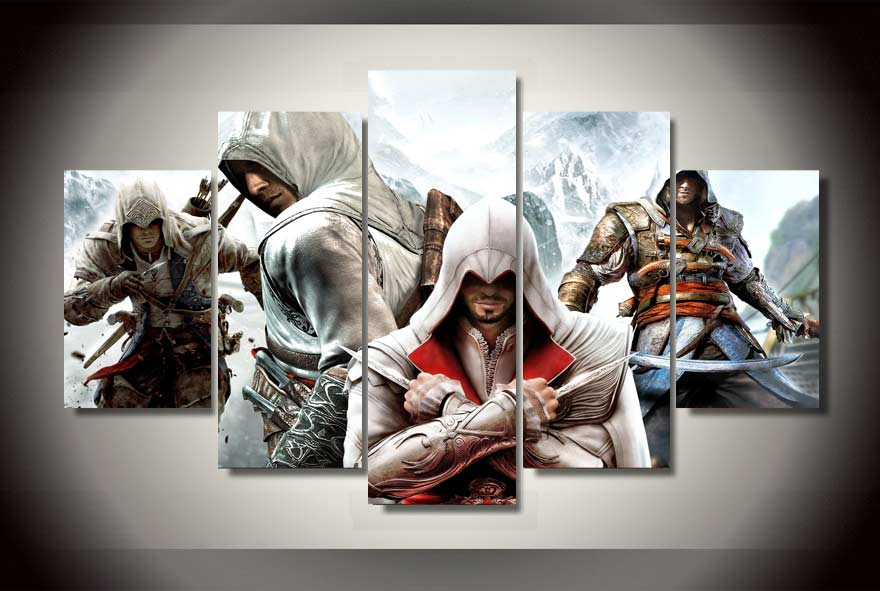 5 Panels Assassins Creed Group Artwork Multi Canvas Art