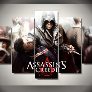 5 Panels Assassins Creed Multi Piece Framed Canvas Art Poster Print