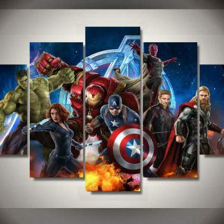5 Panels Marvel Avengers Multi Piece Framed Canvas Art