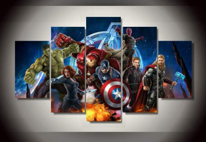 5 Panels Marvel Avengers Multi Piece Framed Canvas Art Poster Print