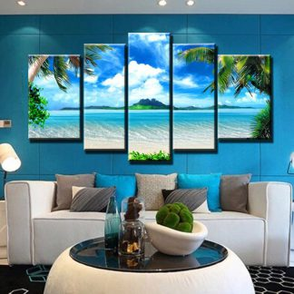 5 Panels Hawaiian Beach Multi Piece Framed Canvas Art Poster Print