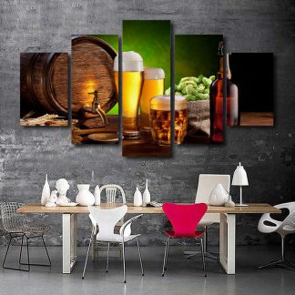 5 Panels Beer Multi Piece Framed Canvas Art Poster Print