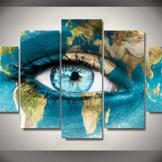 5 Panels Blue Eye World Map Multi Piece Framed Canvas Art Poster Print