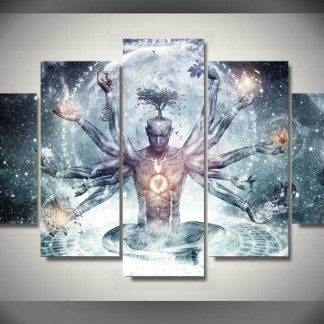 5 Panels Buddha Multi Piece Framed Canvas Art Poster Print