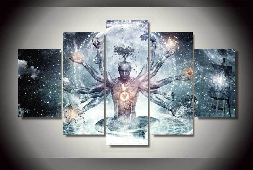 5 panels buddha buddhism group artwork multi canvas art for Creative painting on canvas