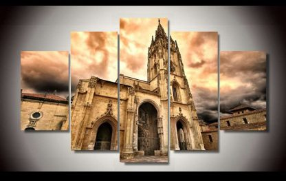 5 Panels Cathedral Multi Piece Framed Canvas Art Poster Print