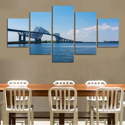 5 Panels City Water Bridge Multi Piece Framed Canvas Art Poster Print