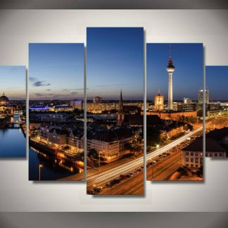 5 Panels City Sky Line Multi Piece Framed Canvas Art Poster Print