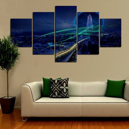 5 Panels City Sky Line at Night Multi Piece Framed Canvas Art Poster Print