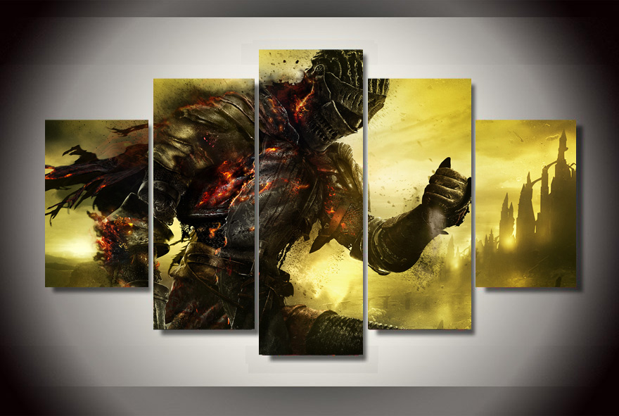 5 Panels Dark Souls 3 Group Artwork Multi Canvas Art