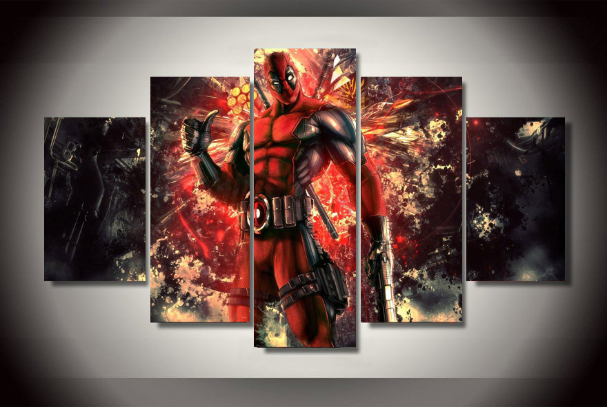 5 Panels Marvel Deadpool Group Artwork Multi Canvas Art