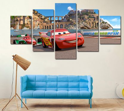 5 Panels Disney Cars Multi Piece Framed Canvas Art Poster Print