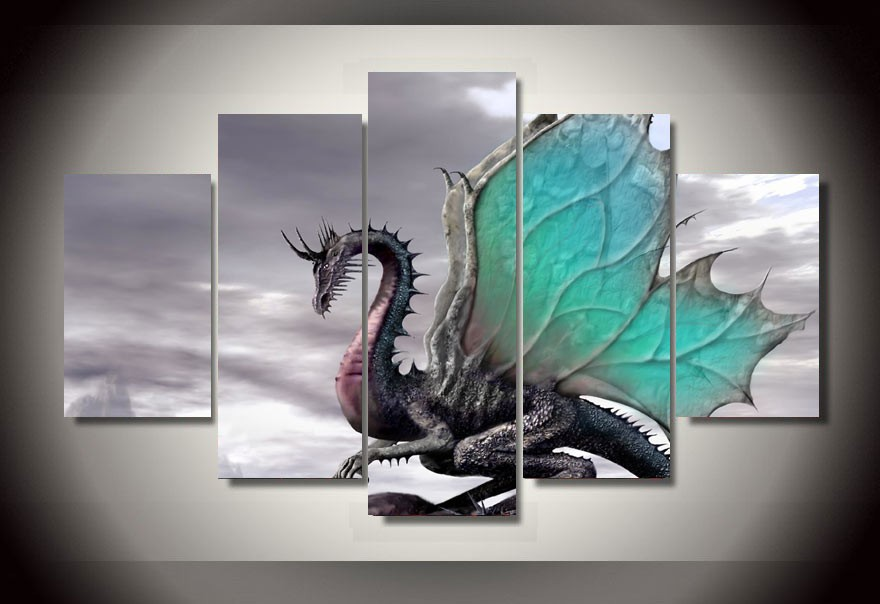5 Panels 5 Panels Dragon Group Artwork Framed Poster Print
