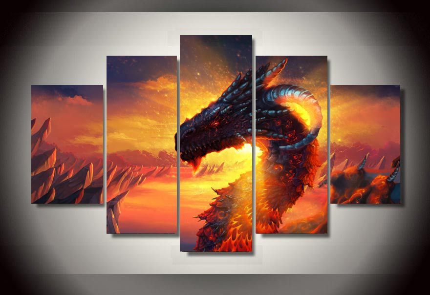 5 Panels Dragon Group Artwork Multi Canvas Art