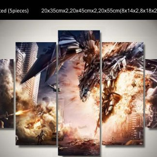 5 Panels Robot Mechanic Dragon Multi Piece Framed Canvas Art Poster Print