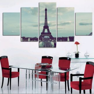 5 Panels Eiffel Tower Multi Piece Framed Canvas Art