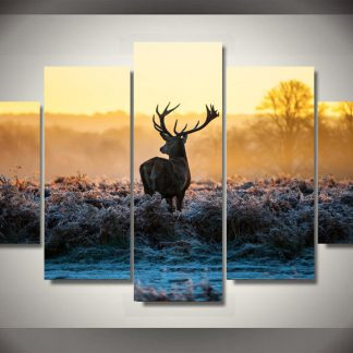 5 Panels Elk Deer Multi Piece Framed Canvas Art Poster Print